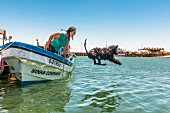 A Portugese water dog with his breeder in the Algarve region of Portugal