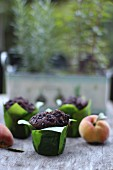 Chocolate muffins and fresh fruits