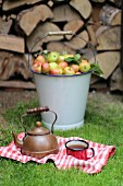 An old teapot and an enamel cup on a tea towel in front of a bucket full of wild apples