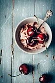Cherry pudding with grated chocolate,