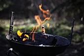 Grill mit brennender Holzkohle