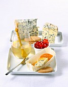 Blue cheese with candied fruits and biscuits