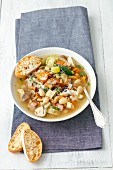 Minestrone with mushrooms and beans