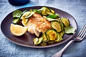 Pan-fried cod with courgette