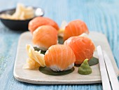 Japanese sushi balls with smoked salmon