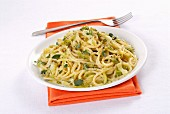 Khorasan wheat spaghetti with spring onion