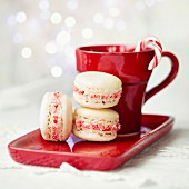 Macarons decorated with crushed candy canes