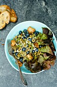 Mung bean salad with croutons and blueberries