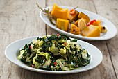 Sweet and sour savoy cabbage salad and sweet and sour preserved pumpkin