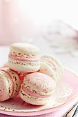 French macarons filled with strawberry cream