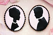 Bride and groom cameo cookies