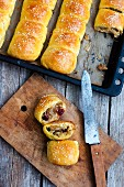 Bread stuffed with cabbage, mushrooms and dried cranberries