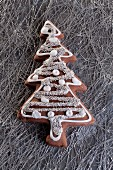 A Christmas gingerbread biscuit in the shape of a Christmas tree