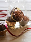 Home-made chocolate truffles to give as a gift