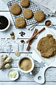 Gingerbread biscuits with ingredients for Christmas
