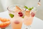 Paloma Cocktails mit Grapefruit, Himbeere, Minze und Eis