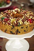 Christmas fruit cake with slivered almonds