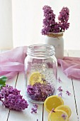 Ingredients for lilac syrup