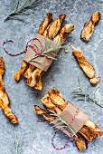 Puff pastry straws with smoked paprika and maple syrup for Christmas