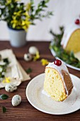 A slice of babka (Polish Easter cake) with icing