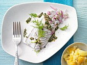 Steamed fillet of coalfish with herb sauce and swede purée