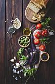 Mediterranean diest of fresh vegetablea, olive oil and home made bread