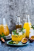 Passionfruit cocktail with mint