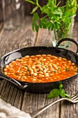 Baked beans in a pan