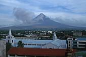 Mount Mayon erupting