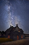 Farmhouse and Milky Way,Woman in Window