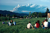 Crowd Watching Mount St. Helens Eruption