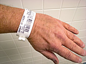 Patient Wearing Hospital ID Tag