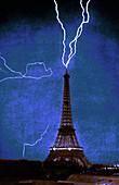 Lightning Strikes Eiffel Tower,1902