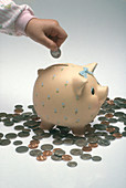 Placing coins in Piggy Bank