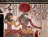 Tomb Painting of Hathor and Horus