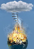 Disaster Earth Stairs Cloud,illustration