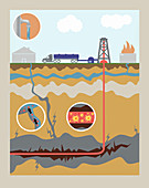Fracking,illustration