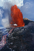 Helicopter and Lava Fountain,Hawaii