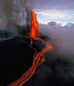 Lava Fountain at Kilauea Volcano,Hawaii