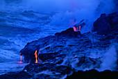 Lava Streams Into the Ocean,Hawaii
