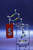 DNA Double Helix in Beaker with Price Tag