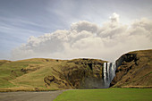 Volcano and Waterfall,Iceland