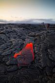 Lava Flowing into Ocean,Hawaii