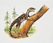 Dinosaur with a lizard,illustration