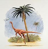 Dinosaur chasing a fly,illustration