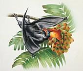 Bird perching on a branch,illustration