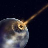 Meteor hitting the earth