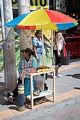 Selling fried insects,Ecuador