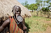 Mursi woman with clay lip disc
