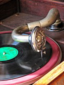 Gramaphone arm,needle and record